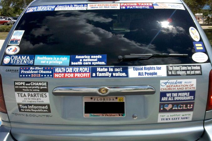 Political bumper stickers on cars equals more votes