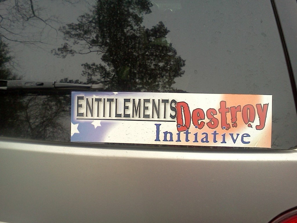 Bumper Sticker - Charlottesville VA - entitlements