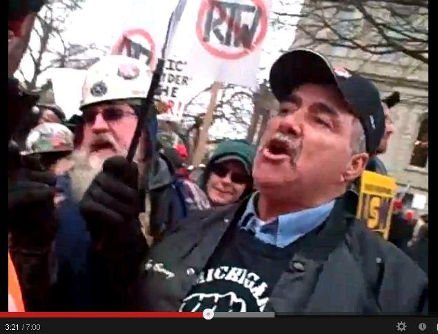 Michigan RTW protest - attacker before2
