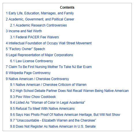 Elizabeth Warren Wiki Table Contents 1-30-2013