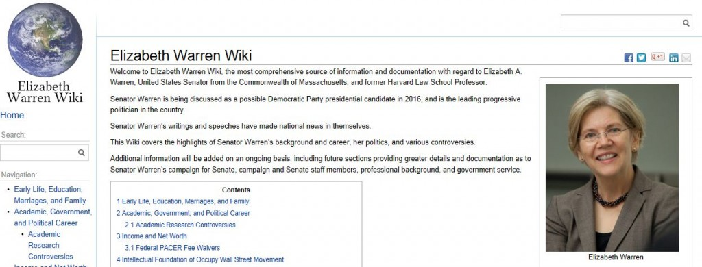 Elizabeth Warren Wiki home page 1-30-2013