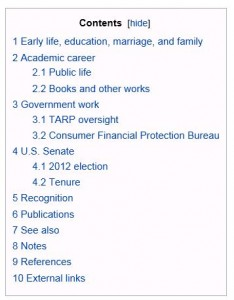 Elizabeth Warren - Wikipedia Contents 1-11-2013 935 Eastern