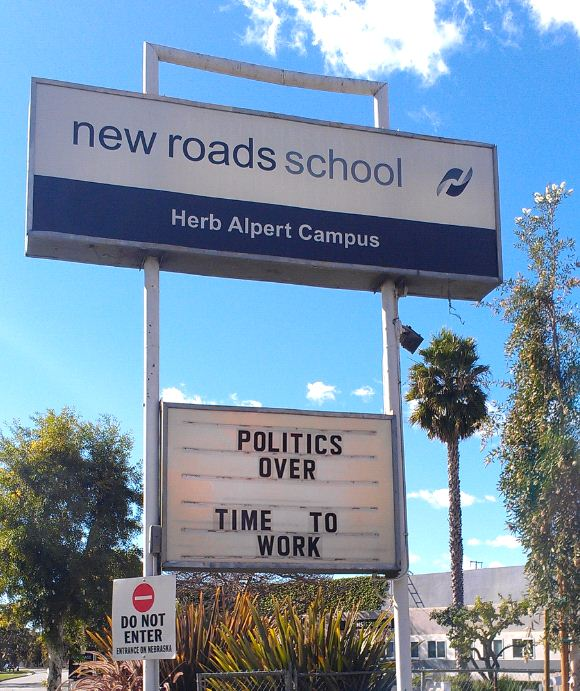 Sign - Santa Monica - New Roads School Back To Work
