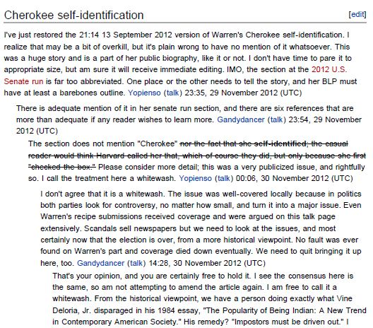 Warren Wikipedia Cherokee Controversy Talk
