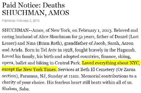 Amos Shuchman obit NY Times