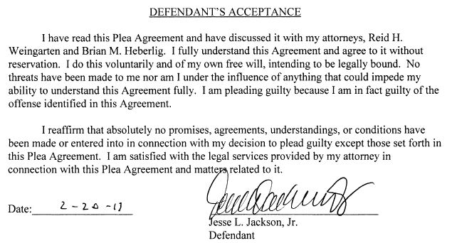 Jesse Jackson Jr. Plea Agreement signature