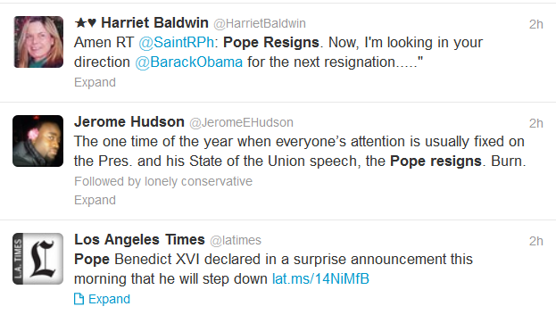 Pope resigns tweets