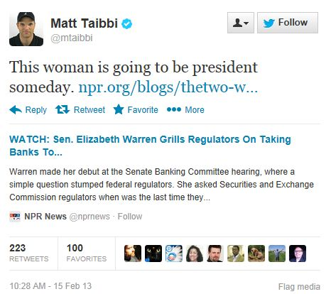 Twitter - @MattTaibi - Warren President Someday