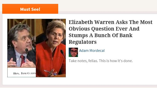 Upworthy Elizabeth Warren most obvious question