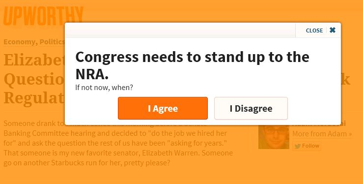 Upworthy pop up NRA