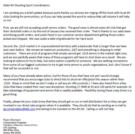 Federal Ammunition Letter to Youth Groups re Ammo Shortage