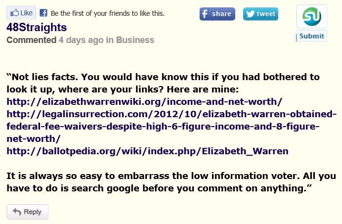 HuffPo Comment Annie Liberal E Warren - Response