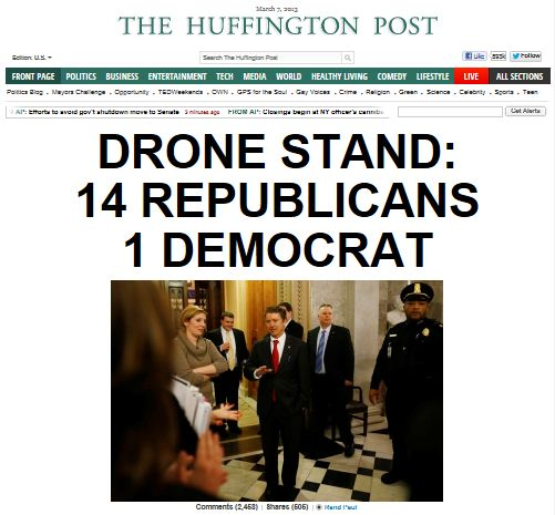 HuffPo - Rand Paul Filibuster - Drone Stand