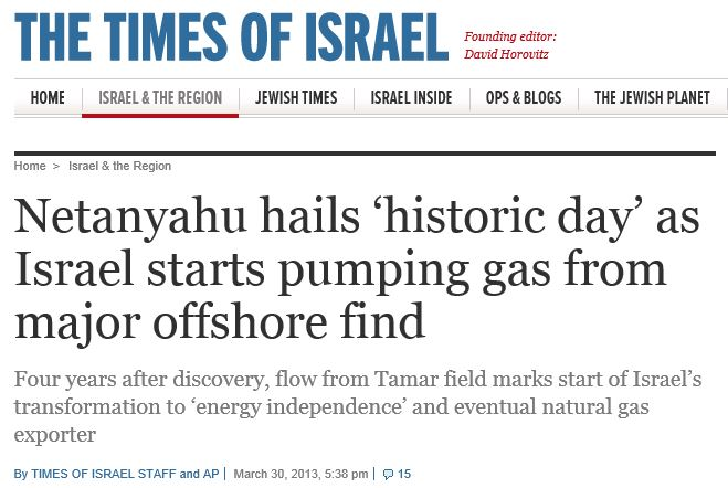 Times of Israel Natural Gas