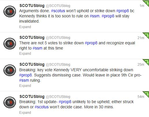 Twitter - @Scotusblog - Marriage Oral Argument tweets