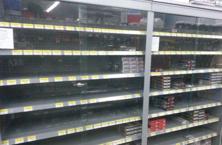 Wal-Mart Ammo shelves