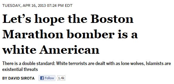 David Sirota - Lets hope Boston Marathon bomber white American