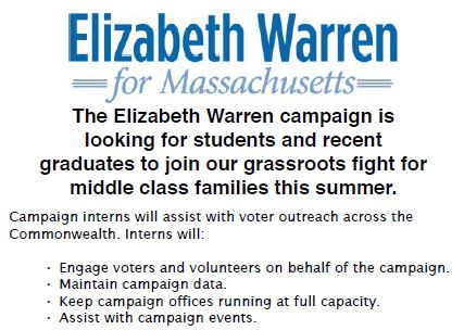 Elizabeth Warren Campaign Intern Flyer1