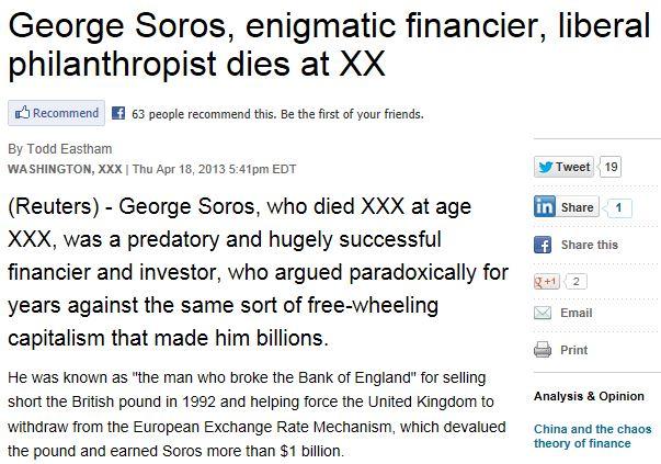 Soros Obituary Reuters 1