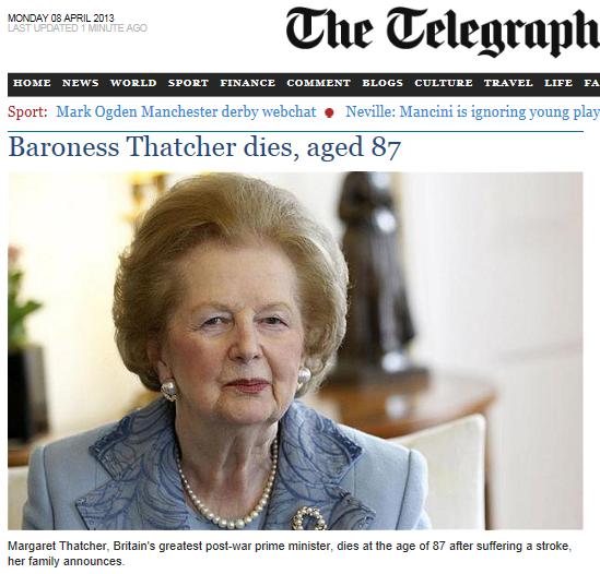 Thatcher Dies Telegraph