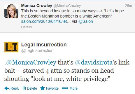 Twitter - @MonicaCrowley Sirota
