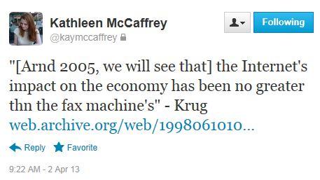 Twitter - @kaymccaffrey - Krugman 1998