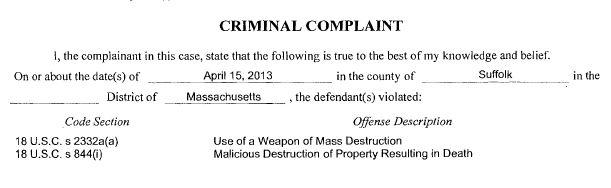 US v Tsarnaev - Complaint Charges