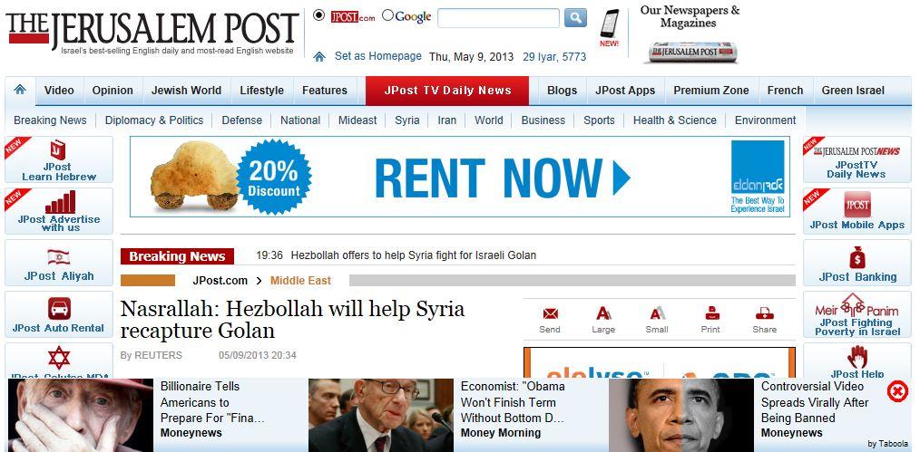Jerusalem Post Story 5-9-2013