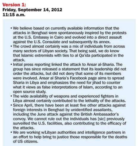 Weekly Standard Benghazi Talking Points Version 1