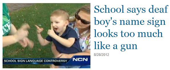 Deaf Boy Sign Language Gun