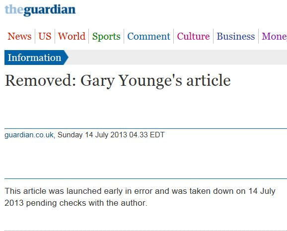 Gary Younge article removed Guardian