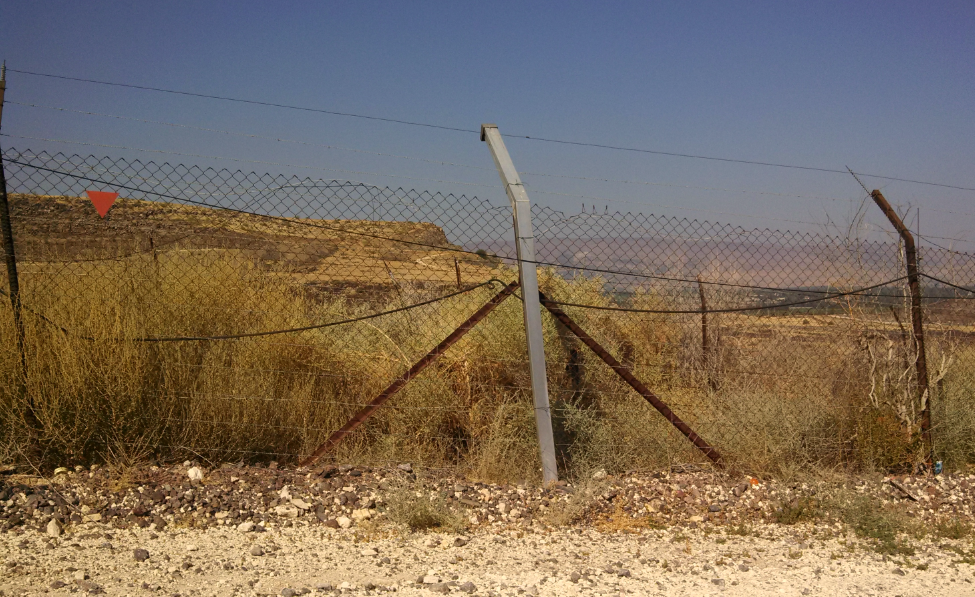 (Highway 98, Israel, climbing Golan Heights - Jordan Border Fence)