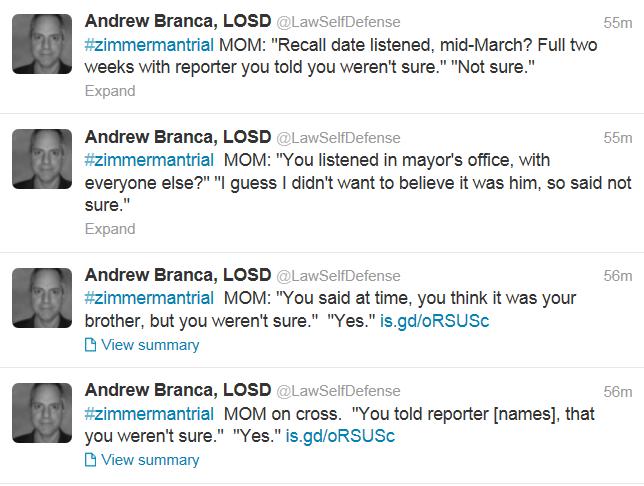 Trayvon Martin Brother Testimony Twitter Capture