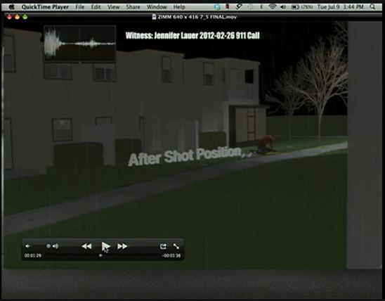 Zimmerman expert animation 2after shot position Selma Mora view