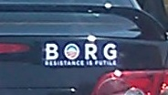 Bumper Sticker - Charlottesville, VA - BORG close up