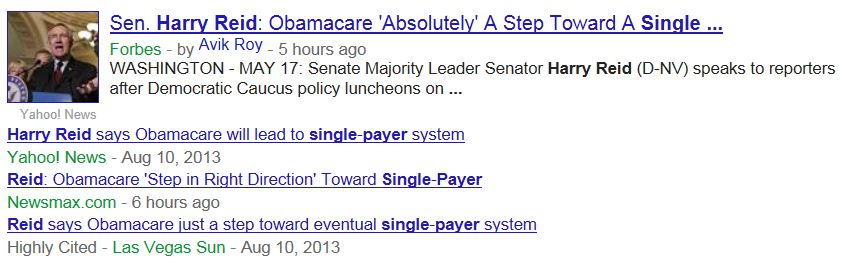 Headlines Harry Reid Single Payer