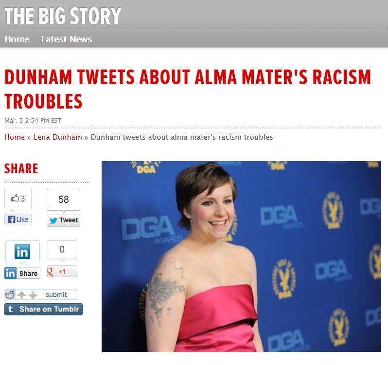 Lena Dunham AP Racism Oberlin