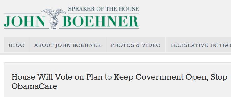 Boehner statement keeping government open