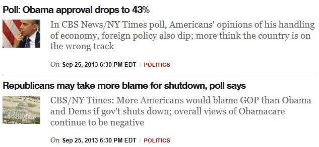 CBS Poll Headlines 9-25-2013