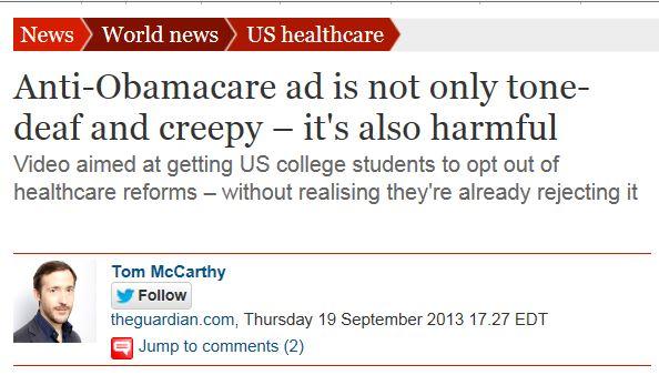 Creepy Obamacare Ad - Guardian