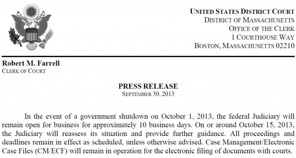 Mass Court Announcement re Shutdown 9-30-2014