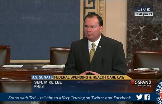 Mike Lee filibuster Obamacare