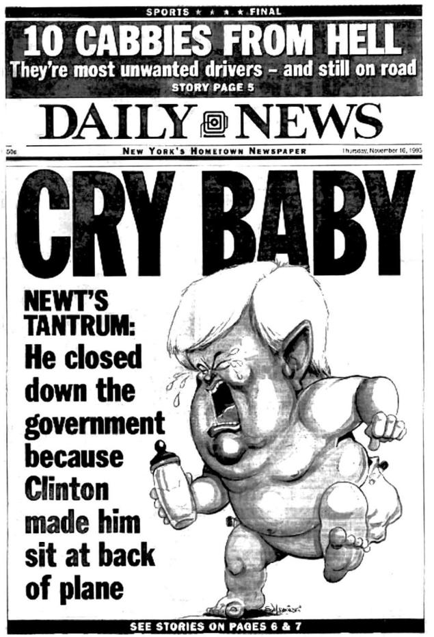 Newt Gingrich Cry Baby Daily News