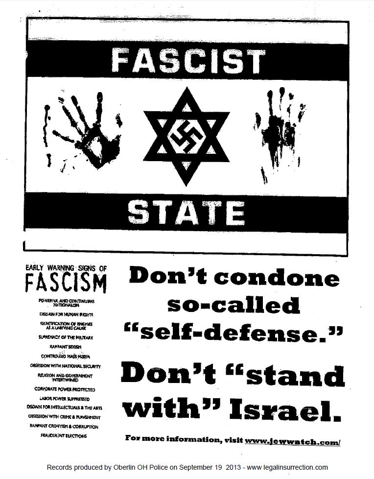 Oberlin Poster Anti-Israel w out handwriting