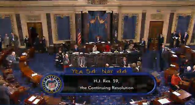 (Senate votes 54-44 to fund gov't including Obamacare through 11-15-2013)