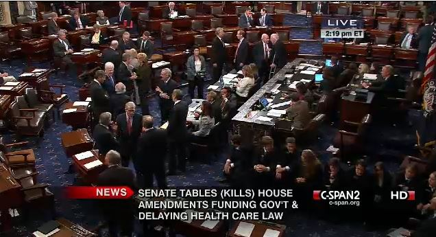 Senate Final Voting to Table House Continuing Resolution