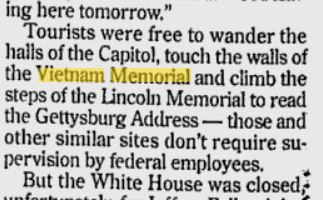 1995 Memorials Open during Shutdown