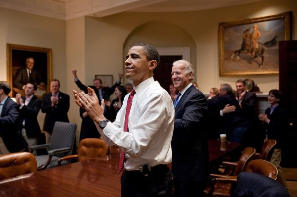 Barack Obama reacts to the passing of Healthcare bill March 2013 (Wikimedia Commons)