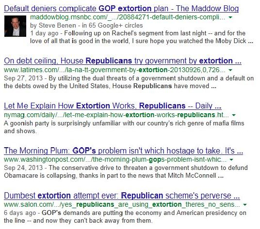Google News Search Republican Extortion 10-10-2013 915 am - partial