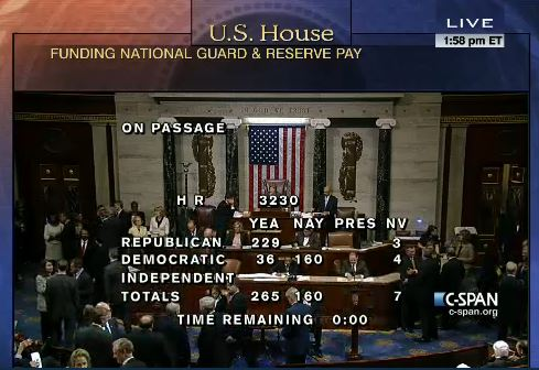House National Guard Pay Act Vote
